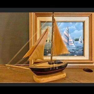 VTG Handmade Wooden Sailboat Nautical Schooner